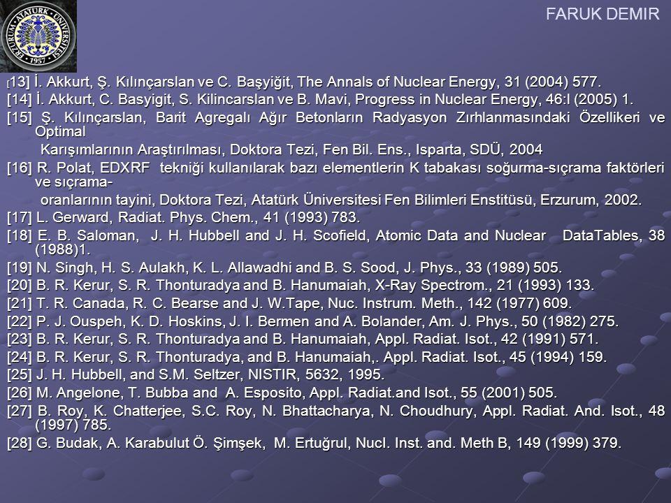FARUK DEMIR [13] İ. Akkurt, Ş. Kılınçarslan ve C. Başyiğit, The Annals of Nuclear Energy, 31 (2004) 577.